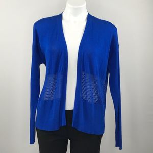 Vince Camuto blue open cardigan with mesh waist
